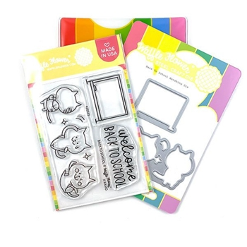 Waffle Flower BACK TO SCHOOL Clear Stamps and Die Combo WFC335