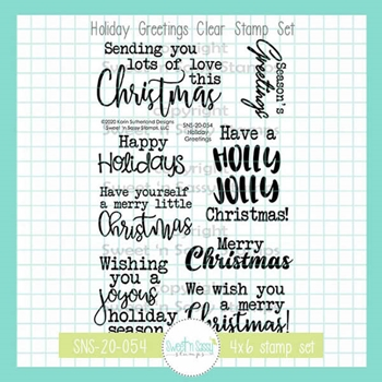 Sweet 'N Sassy HOLIDAY GREETINGS Clear Stamp Set sns20054