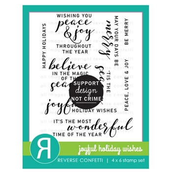 Reverse Confetti JOYFUL HOLIDAY WISHES Clear Stamps