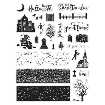 Hero Arts Clear Stamps GRAVEYARD HEROSCAPE CM478
