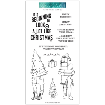 Concord & 9th FESTIVE FRIENDS Clear Stamp Set 10957