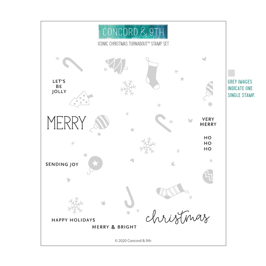 Concord & 9th ICONIC CHRISTMAS TURNABOUT Clear Stamp Set 10952 zoom image