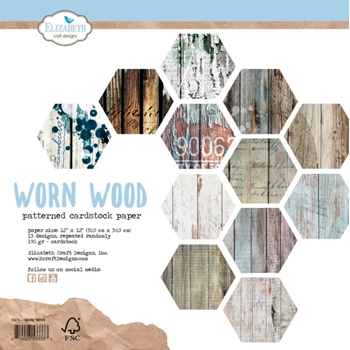 Elizabeth Craft Designs WORN WOOD 12x12 Paper c004