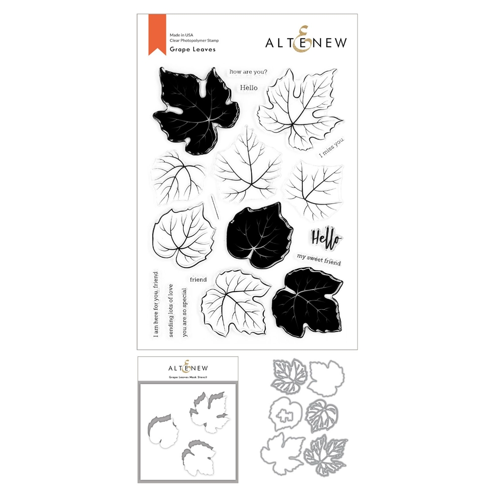 Altenew GRAPE LEAVES Clear Stamp, Die and Mask Stencil Bundle ALT4435 zoom image