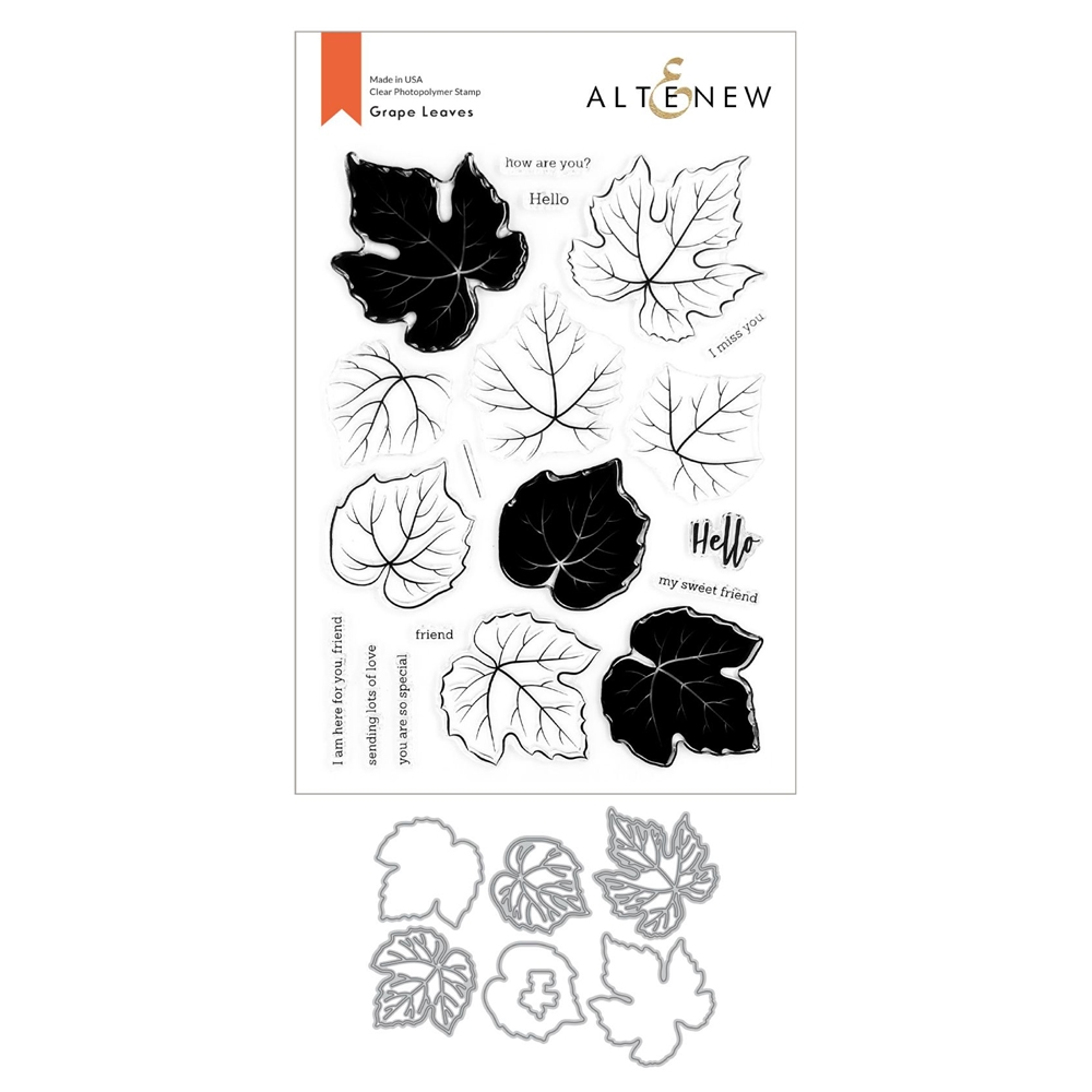 Altenew GRAPE LEAVES Clear Stamp and Die Bundle ALT4434 zoom image