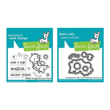 Lawn Fawn SET WINTER DRAGON Clear Stamps and Dies lfwd