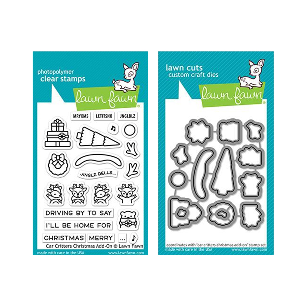 Lawn Fawn SET CAR CRITTERS CHRISTMAS ADD-ON Clear Stamps and Dies lfcccao zoom image
