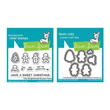 Lawn Fawn SET TINY GINGERBREAD Clear Stamps and Dies lftg