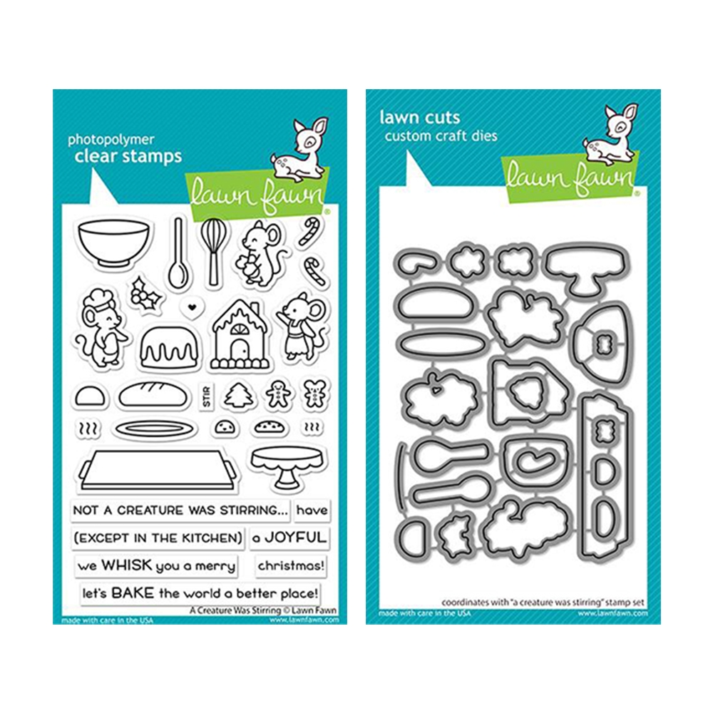 Lawn Fawn SET A CREATURE WAS STIRRING Clear Stamps and Dies lfacws zoom image
