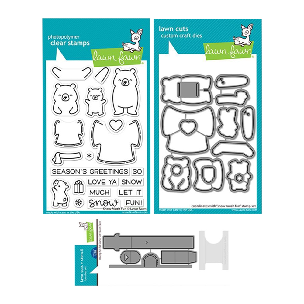 Lawn Fawn SET SNOW MUCH FUN Clear Stamps and Dies lfsmf zoom image