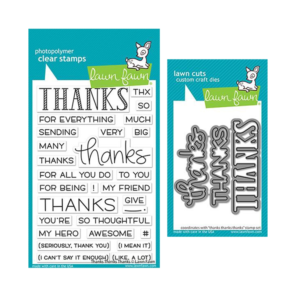 Lawn Fawn SET THANKS THANKS THANKS Clear Stamps and Dies lfttt zoom image