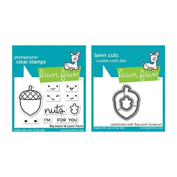 Lawn Fawn SET BIG ACORN Clear Stamps and Dies lfba