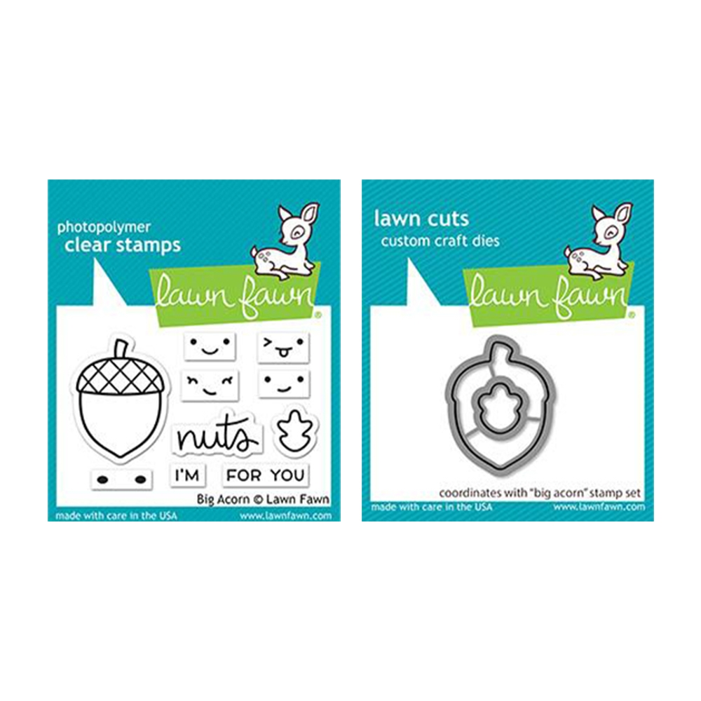Lawn Fawn SET BIG ACORN Clear Stamps and Dies lfba zoom image
