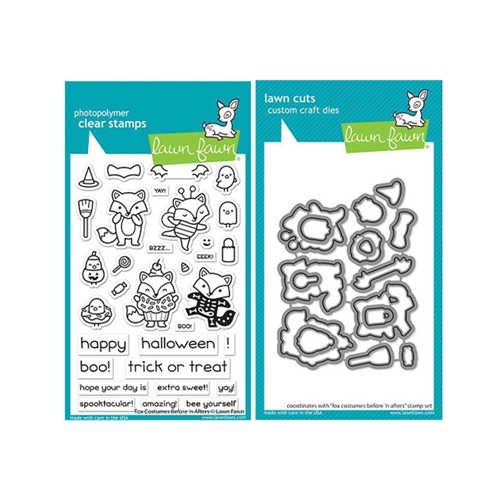 Lawn Fawn SET FOX COSTUMES BEFORE 'N AFTERS Clear Stamps and Dies lffcba Preview Image