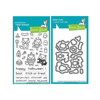 Lawn Fawn SET FOX COSTUMES BEFORE 'N AFTERS Clear Stamps and Dies lffcba