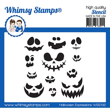 Whimsy Stamps HALLOWEEN EXPRESSIONS Stencil WSS132