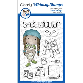 Whimsy Stamps POLKA DOT PALS BEAU Clear Stamps BS1016