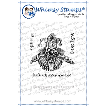 Whimsy Stamps CREEPY CLOWN SLEEP TIGHT Cling Stamp DDB0048