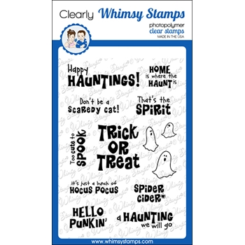 Whimsy Stamps SPIRITED SENTIMENTS Clear Stamps CWSD341