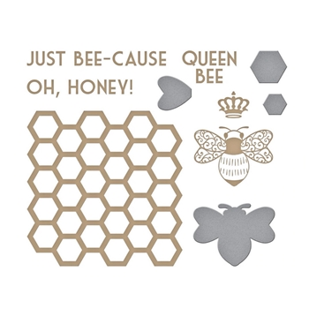 GLP-237 Spellbinders JUST BEE CAUSE Glimmer Hot Foil Plate and Die Cuts