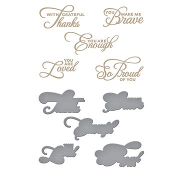 GLP-219 Spellbinders HEART FELT SENTIMENTS Glimmer Hot Foil Plate and Die Cuts
