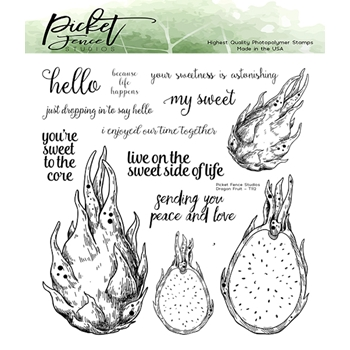 Picket Fence Studios DRAGON FRUIT Clear Stamps t112