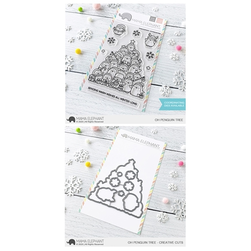 Mama Elephant Clear Stamp and Die MEPT833 Oh Penguin Tree SET Preview Image