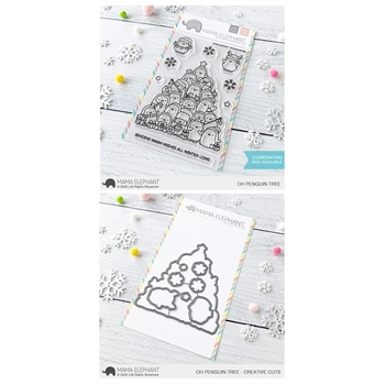 Mama Elephant Clear Stamp and Die MEPT833 Oh Penguin Tree SET