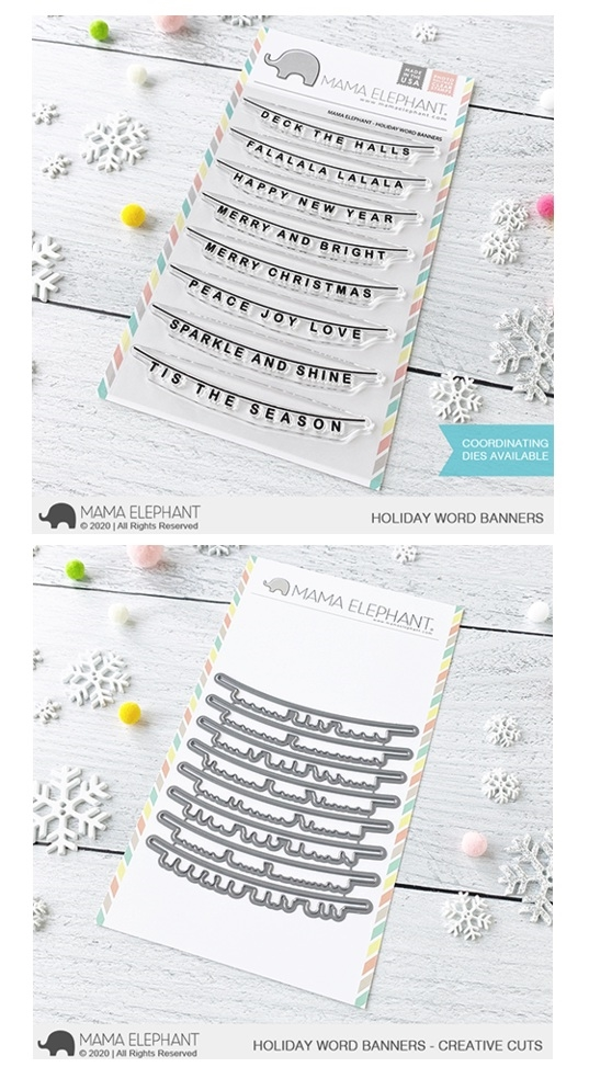 Mama Elephant Clear Stamp and Die MEPT842 Holiday Word Banner SET zoom image