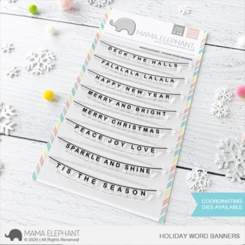 Mama Elephant Clear Stamps HOLIDAY WORD BANNER