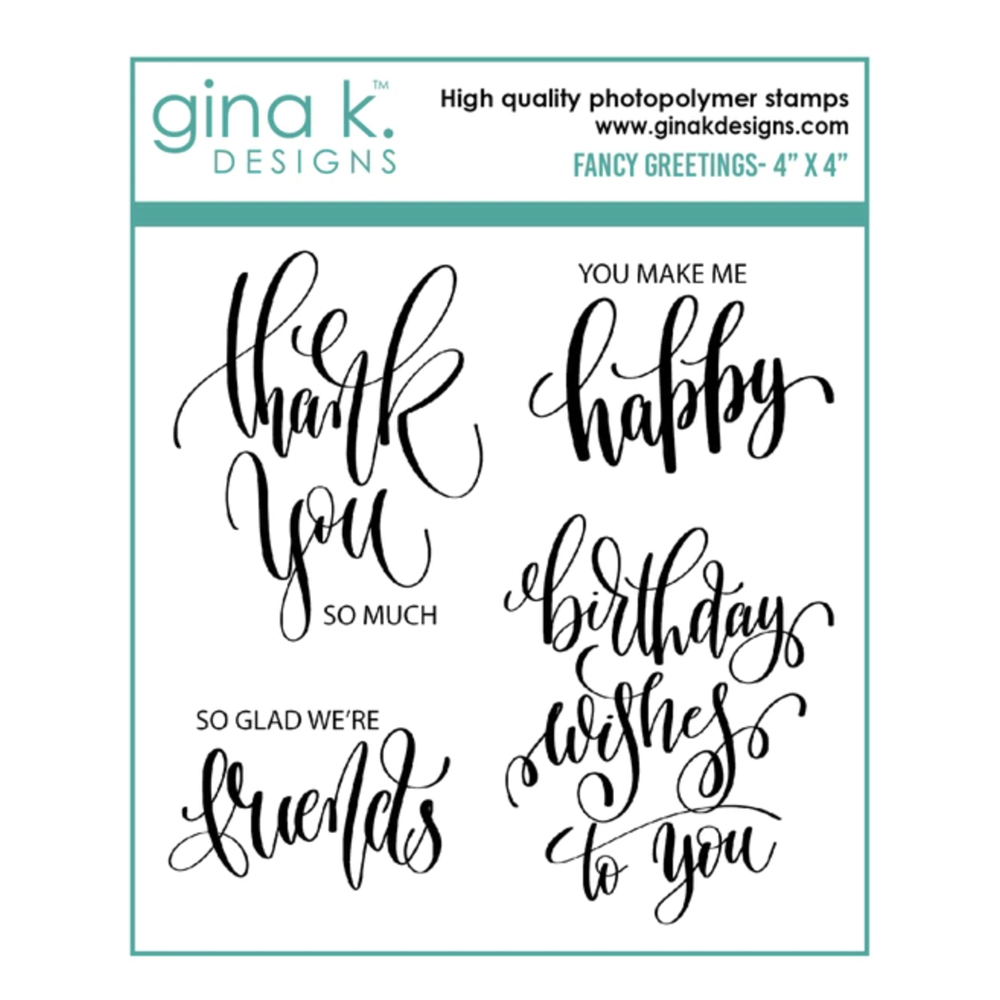 Gina K Designs FANCY GREETINGS Clear Stamps 6576 zoom image