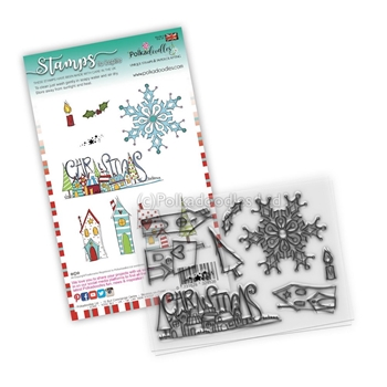Polkadoodles CHRISTMAS SCENES Clear Stamps pd8083*