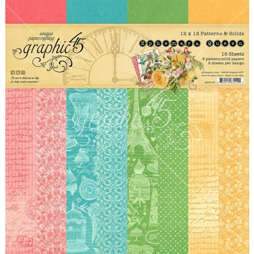 Graphic 45 EPHEMERA QUEEN 12 x 12 Patterns And Solids Paper Pad 4502105 Preview Image