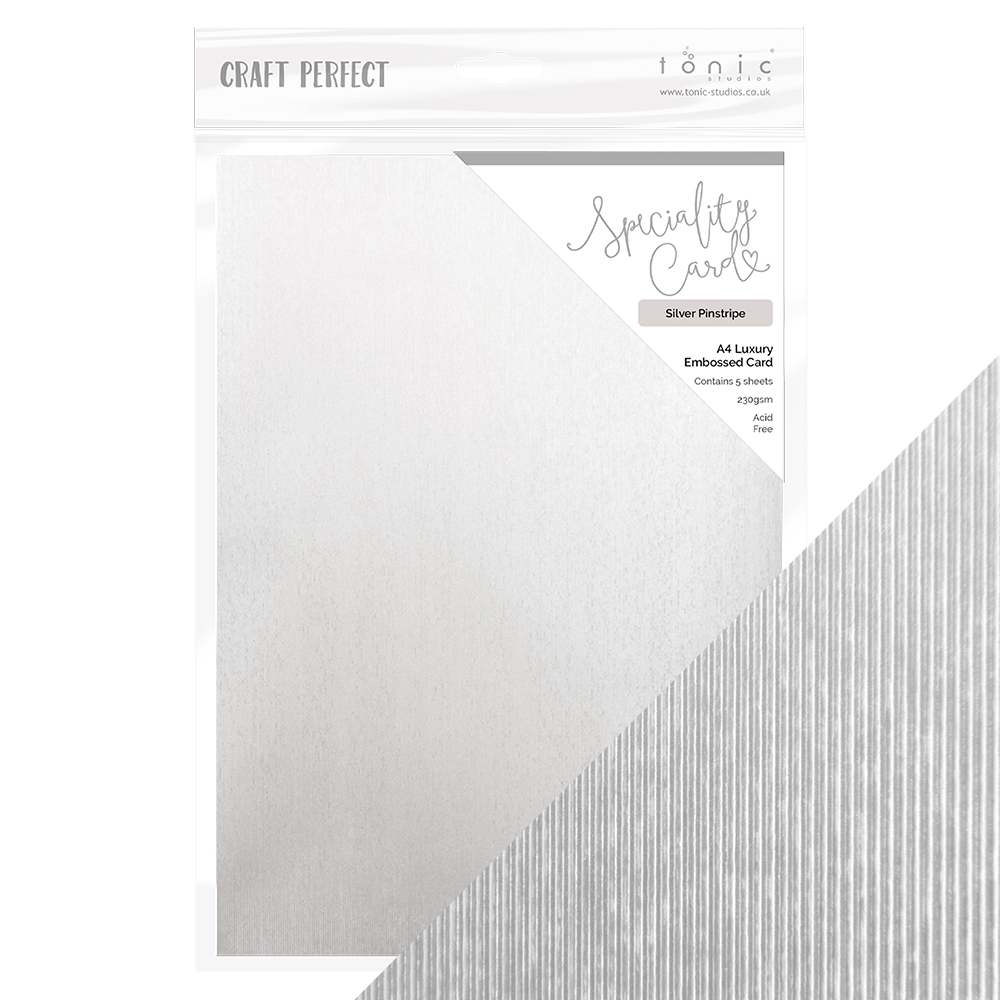 Tonic SILVER PINSTRIPE Luxury Embossed 8.5 x 11 Paper Pack 9848e zoom image