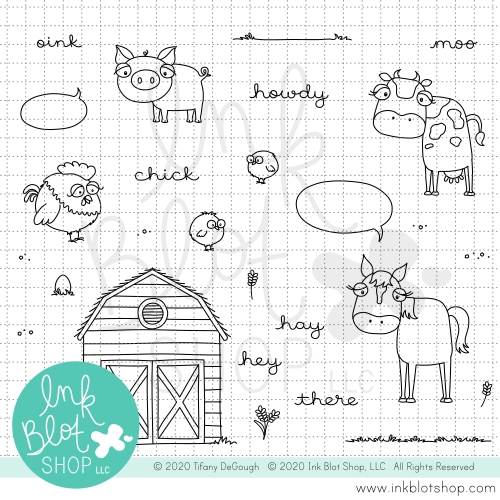 Ink Blot Shop Clear Stamp Set FARM FRIENDS inbl099 Preview Image
