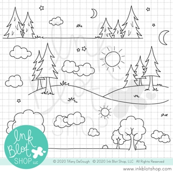 Ink Blot Shop Clear Stamp Set LANDSCAPE BORDERS inbl101