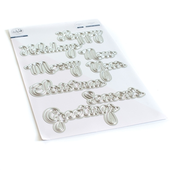 PinkFresh Studio PHRASE BUILDER HAPPY HOLIDAYS Die Set pfsa2620