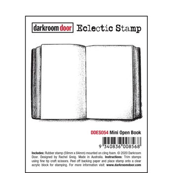 Darkroom Door Cling Stamp MINI OPEN BOOK Eclectic ddes054