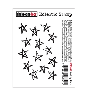 Darkroom Door Cling Stamp SKETCHY STARS Eclectic ddes052
