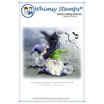 Whimsy Stamps GNOME HAUNTED FOREST Cling Stamp C1364