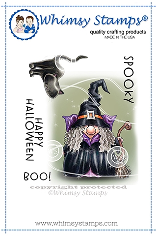 Whimsy Stamps GNOME WITCH Cling Stamp C1363 Preview Image