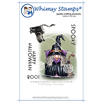 Whimsy Stamps GNOME WITCH Cling Stamp C1363