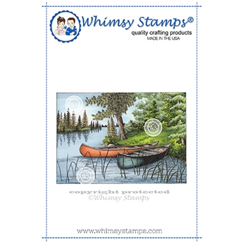 Whimsy Stamps TWO CANOES Cling Stamp DA1148