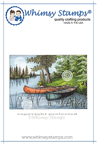 Whimsy Stamps TWO CANOES Cling Stamp DA1148 zoom image