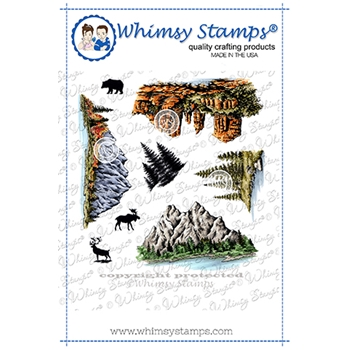 Whimsy Stamps CREATE A SCENE MOUNTAINS Cling Stamps DACAS03