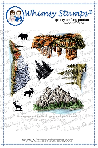 Whimsy Stamps CREATE A SCENE MOUNTAINS Cling Stamps DACAS03 zoom image