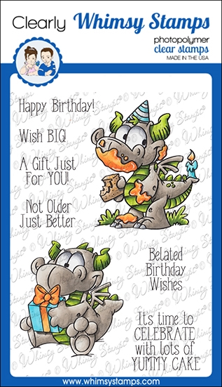 Whimsy Stamps BIRFDAY DRAGONS Clear Stamps DP1052 zoom image