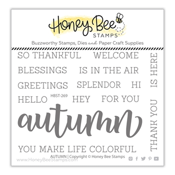 Honey Bee AUTUMN BUZZWORD Clear Stamp Set hbst269