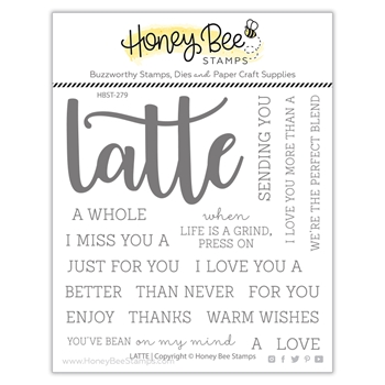 Honey Bee LATTE BUZZWORD Clear Stamp Set hbst279