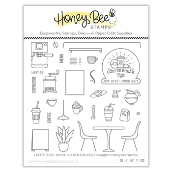 Honey Bee COFFEE SHOP HOUSE BUILDER ADD ON Clear Stamp Set hbst281